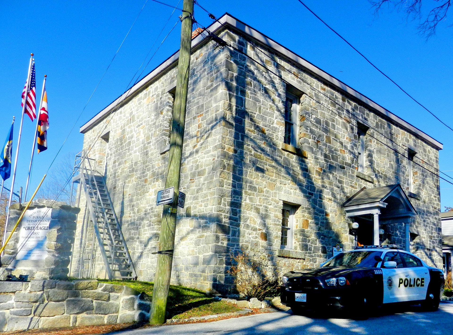 The Grey Lady, the Somerset County Jail, now serves as the headquaters for the Princess Anne Police Department.