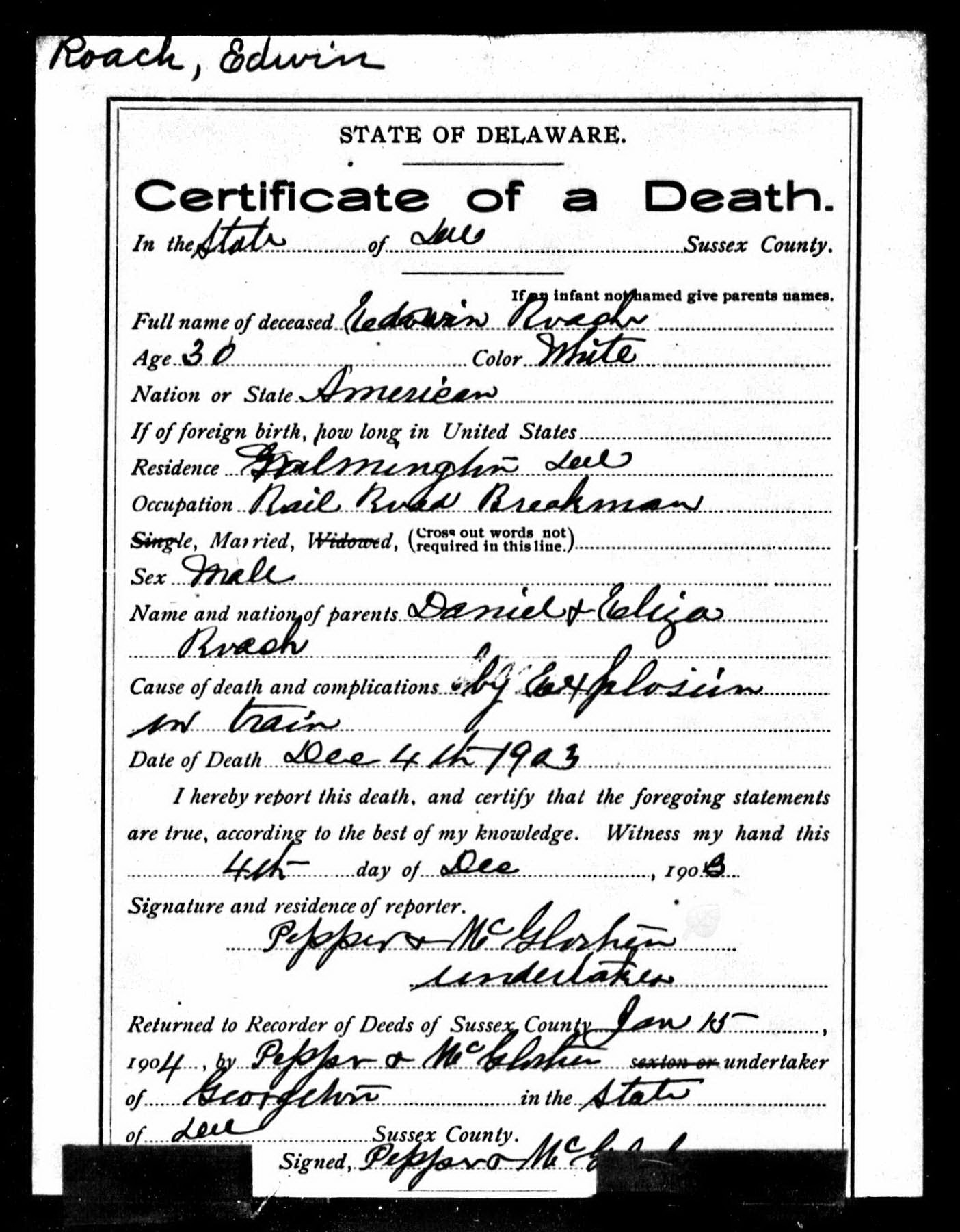 Mike dixon mikes history blog page 2 delaware death certificate for edwin roach source jane roach butler and harry edwin roach xflitez Image collections